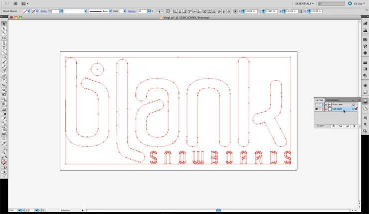 Blank Snowboards Vinyl Sticker Cut Layer